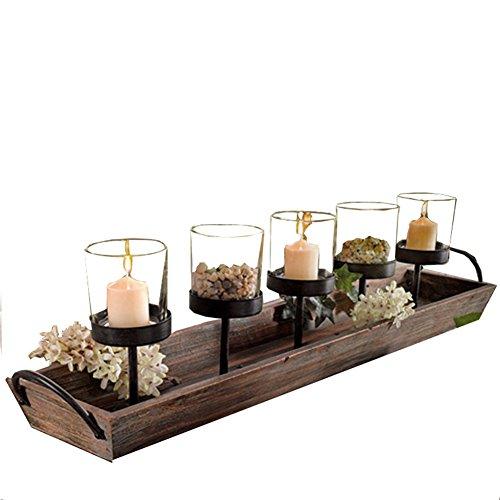 Retro Holz Glas Teelicht Kerzenhalter Auf Tablett Geschenk-Set Für Indoor Haus Küche Dekoration (Einschließlich Kerzenhalter, 5 Kerzen, Steine)