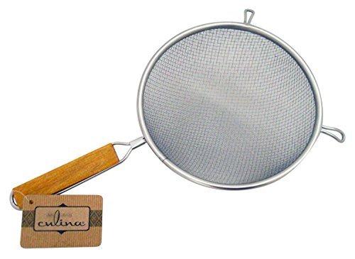 Culina 20cm Doppel-Netz Küchensieb, Edelstahl, Holzgriff