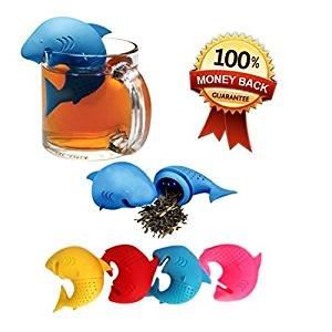 Infuseurs à Thé en Silicone (Set de 4) - Infusion Facile et Rapide - Boule en forme de requin - Excellent Filtre pour l'Infusion du Thé - Silicone Alimentaire Sans BPA - Lavables au Lave-Vaisselle
