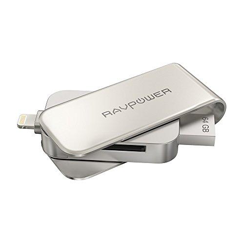 RAVPower Flash Drive iPhone 64G (MFi Certificato), Memoria Esterna per iPhone + Lettore di Schede fino a 128G, USB 3.0 App iPlugmate Gratuita, Funzioni 3 in 1, Chiavetta USB Compatibile con Dispositivi Apple