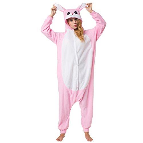 Witziger Häschen-Onesie Jumpsuit, Süßes Hasen-Kostüm - Fasching, Karneval, Party, Hausanzug in Rosa-Weiß, Cosplay Einteiler, Sleepsuit Kapuze, lustiges Tier-Outfit, flauschig bequem, Hasen-Pyjama