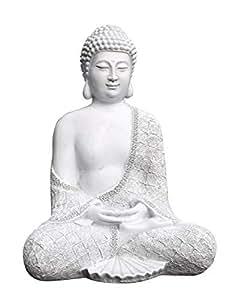 tiefes kunsthandwerk steinfigur buddha sitzend antik weiss garten deko figur stein statue. Black Bedroom Furniture Sets. Home Design Ideas