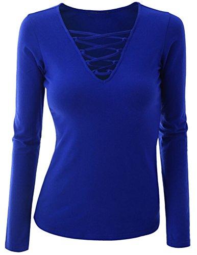 Ghope Sexy Top T-shirt à Manches Longues en Coton avec Bouton Col V Pull Haut Femme Bandage Plongeant à Lacets Slim Pull Tops Chandail Cardigan Bleu