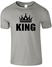 King And Queen Avec Couronne Present Unisexe Couple Logo Tshirt