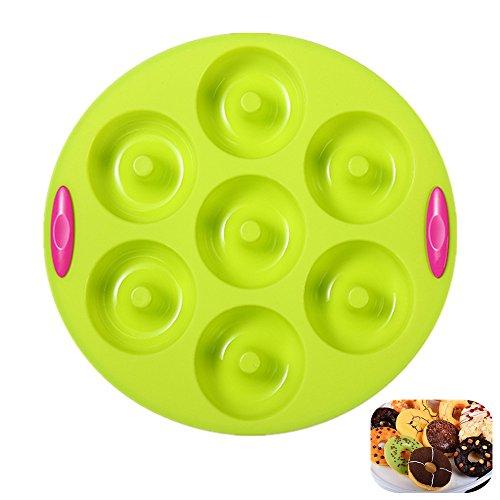 KeepingcooX Runde Donut Silikon Formen, 7 Hohlraum, Antihaft-Backblech Donut Maker Pfanne Hitzebeständigkeit für Kuchen Keks Bagels Muffins- Doppel-Texturierte Griffe Farbe (öl-bereinigung)