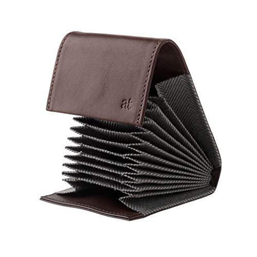 4415c1555d Porta carte di credito in Vera Pelle a Soffietto Fisarmonica con 11  scomparti e chiusura a