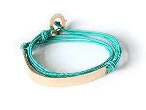 Bracelet West Side® large sur coton fin Adulte poignet normal (14-16cm) Turquoise Plaqué or