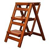 ZENGAI Holzleiter Klapphocker Treppe Multifunktions-Trittleiter Home Kitchen Trittleiter (Farbe : Gelb)