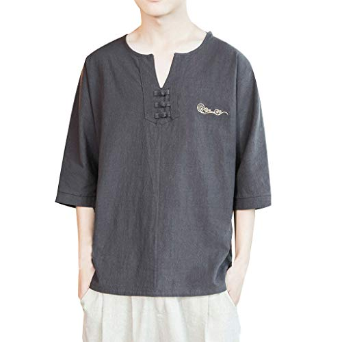 Novelty Knit Shirt (HHyyq Men's Baggy Cotton Linen Short Sleeve Retro Tops Blouse Traditional Shirts Casual v Neck Knit Loose t Shirt Summer Fashion Top Stand-Up Collar Hoodie Basic Hoody Vintage(Dunkelgrau,XXXXXL))