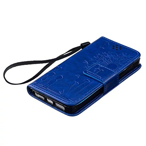 iPhone Case Cover Hochwertige Premium PU-Leder-Kasten-Abdeckungs-feste Farben-Löwenzahn-prägenmappe-Standplatz-Fall-Abdeckung für IPhone 5 5S SE ( Color : Gold , Size : IPhone 5S SE ) Blue