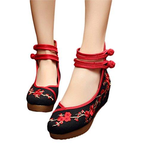Yy.f YYF Fille Femme Chaussure de Princesse A Talon Fleur Broderie Chinoise A Talon Elegante pour Ete Printemps