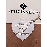 ArtigianeriA - Portachiavi in legno, dedicato a tutti i GENITORI veramente SUPER! Realizzato a mano in Italia. Idea regalo per la Festa del Papà o della Mamma e per ogni altra occasione.
