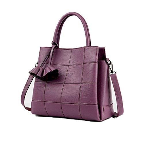 Sacchetto Di Tote Bag Di Grande Capacità Delle Donne Sacchetto Di Cuoio Molle Semplice Della Borsa Del Messaggero Di Modo Retro Handbags Purple
