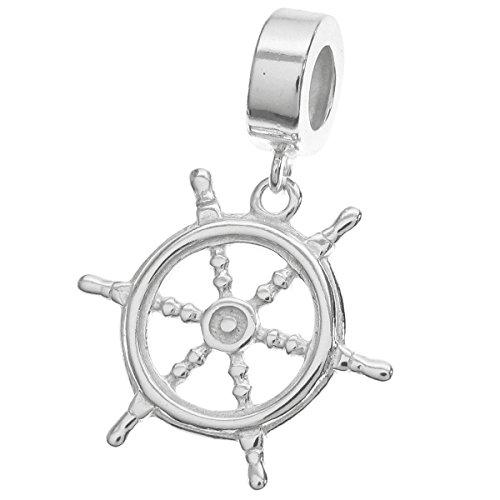 Argento sterling 925nave timone timone pendenti perline per braccialetti europei