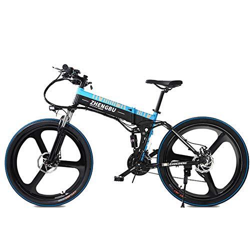 MERRYHE 27 velocità Full Suspension E-Bike 400W Cruiser Pieghevole Bicicletta Elettrica Rimovibile Li-Batteria Mountain Bike 26 Pollici Ruota Integrata Bici da Strada,Blue-48V10AH