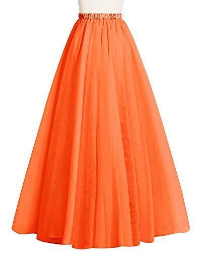 CoutureBridal® Femme Jupe Tutu 2 Couches Elastic Ceinture Princesse Tulle 90CM Orange