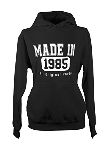 Made In 1985 All Original Parts Birthday Cool Amusant Gift Femme Capuche Sweatshirt Noir