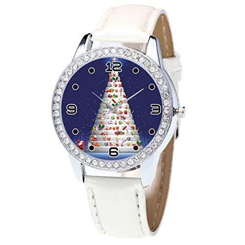 Moonuy Arbeiten Sie Weihnachtsfrauen Uhr Diamant Leder Band Analog Quarz Mode Armband Uhren Weihnachtsgif für Liebhaber um -