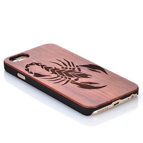 iPhone 7 Hülle, Vandot Holz iPhone 7 Schutzhülle Ultra Dünn Echtem Wood Hart Case Cover mit PC Hard Bumper Handytasche Retro Handmade Muster Patter Passgenaues Telefonkasten Handyhülle Handgefertigt R Design 12