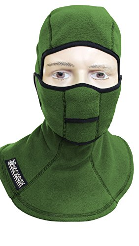 STARKS Sturmhaube Winter Fleece Warm Open Face Balaclava Herren Sturmmaske Skimaske grün | Thermoaktive Windstopper Winddicht Bodymapping | Ideal for Extreme Sport Motorcycle Motorrad Snowboard Ski (Balaclava Layer)