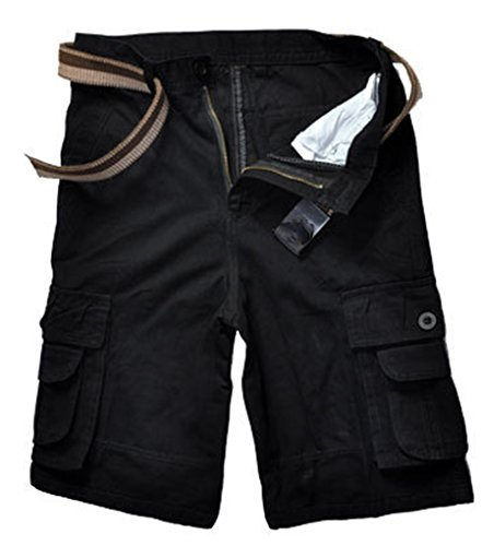 Sentao Uomo All'aperto Casuale Pantaloncini Vintage Cargo Shorts con Multitasche Nero