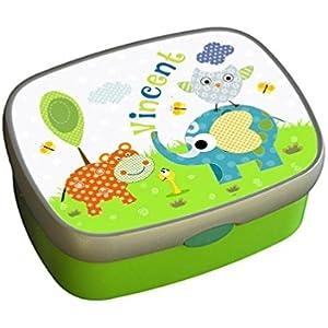 Brotbox mit Name - Elefant - Nilpferd - Kindergarten - Kind - Kita - grün - ginidesign