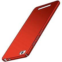 Funda Xiaomi Mi4c Mi 4C, Caso con [Protector de Pantalla de Cristal Templado] [Ultra-Delgado] [Ligera] Anti-Rasguño y Anti-Huellas Dactilares Totalmente Protectora Estuche de Plástico Duro -Rojo