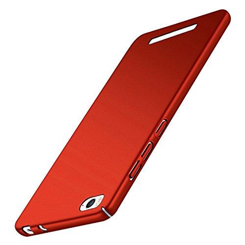 Tmusik Xiaomi Mi4c Mi 4C Hülle + Panzerglas Displayschutzfolie, [Ultra Dünn] [Leicht] Anti-Kratzer Schutzhülle, Anti-Fingerabdruck Hart Plastisch Rückdeckel Cover Case - Rot