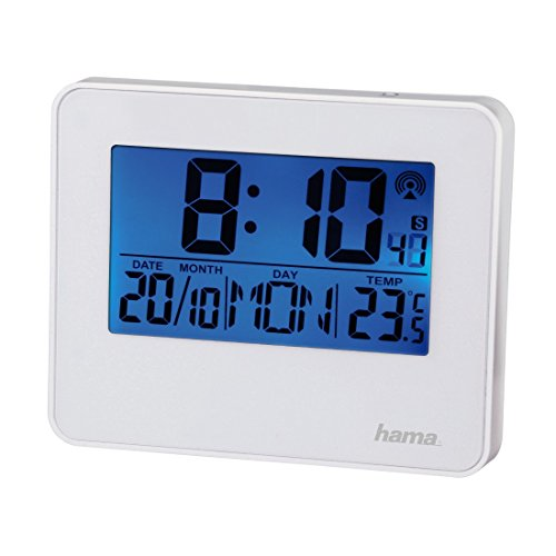 Hama Funkwecker RC 650 (2 Weckzeiten, Hintergrundbeleuchtung und Schlummerfunktion per Bewegungssensor steuerbar, Wecker) weiß