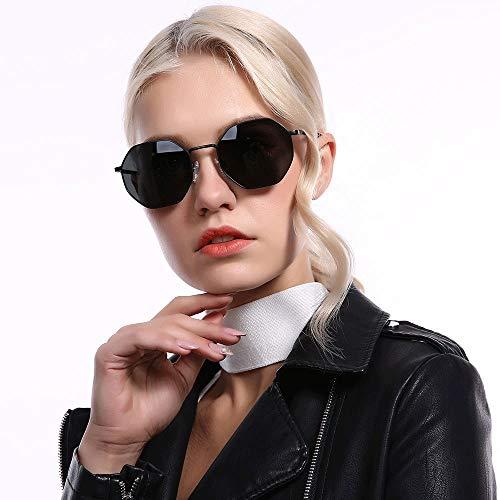Runde Sonnenbrille Für Männer Damenmode Große Metall Aviator Spiegel UV400 Linse Brille (Farbe : Schwarz, Größe : Casual Size)