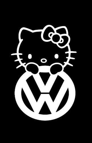 (SUPERSTICKI® Hello Kitty VW JDM Aufkleber Decal Hintergrund/Maße in inch Vinyl Sticker|Cars Trucks Vans Walls Laptop| White |5.5 x 3.75 in|CCI1245)