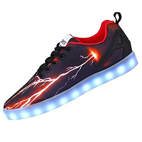 LED Chaussures - Highdas flashing light up sport sneakers USB Rechargeable 7 Couleurs LED Lumière Homme