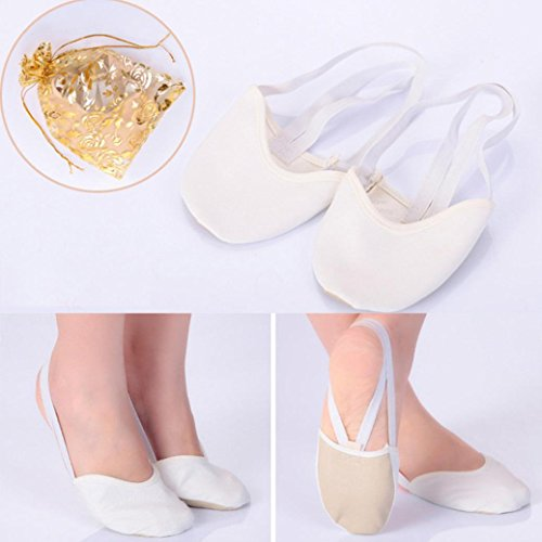 Ballet Shoes, SOMESUN Half Leather Lyrical Sole pointe scarpe balletto di danza Ginnastica ritmica pantofole White
