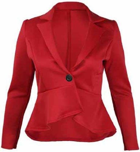 Flirty Wardrobe à bouton de Style péplum Femme Veste Blazer cintrée Rouge - Rouge