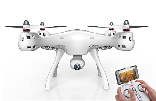 Syma X8 PRO - Drone con Telecamera HD Giant FPV con GPS e Telecomando | Drone Quadrocopters RC Droni Facili da pilotare, Bianchi