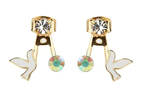 Everyday June Double Boucles D'oreilles Femme Front and Back Earring Jacket 'Peace Bird' Plaqué or CZ Émail
