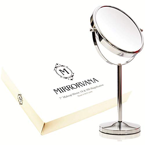 Espejo de Aumento  10x & 1x  con Doble Cara para Maquillaje y Afeitar, Espejo de Mesa con Rotación...