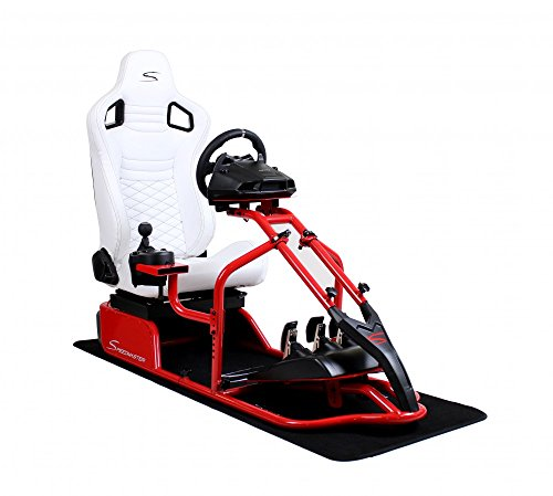 SPEEDMASTER ® Pro Rot - Leder Optik Weiß - Rennsitz - PS4 XBOX - Simracing