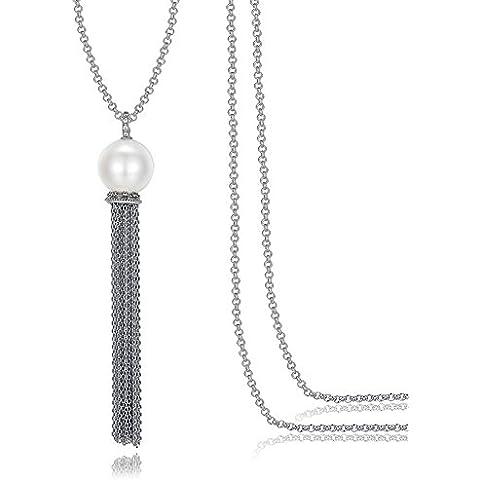 High-end zircone catena elegante perla nappa maglione delle donne della collana del pendente lunga (Tono Oro Nappa)