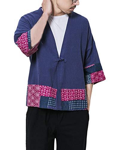 besbomig Hombres Vintage Algodón Lino Poncho Cabo Abrigo Japonés Cardigan Colorblock Camisa Haori