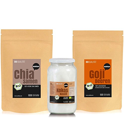 Wohltuer Superfood n Smoothie Set – Bio Chia Samen 1000g / Bio Goji Beeren 500g / Bio Kokosöl 1l