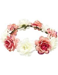 Fletion Bohemia Couronne de plage Roses Fleurs Couronne de mariée couronne de demoiselle d'honneur Courroie de simulation de fleurs artificielles faites à la main pour décoration de fête