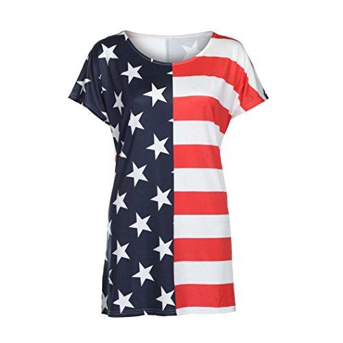 OSYARD Damen Mädchen Sommer Lässiger O-Ausschnitt a-Linien-Kleid Gerades Kleid mit American Flag Print Sexy Kurzarm Minikleid