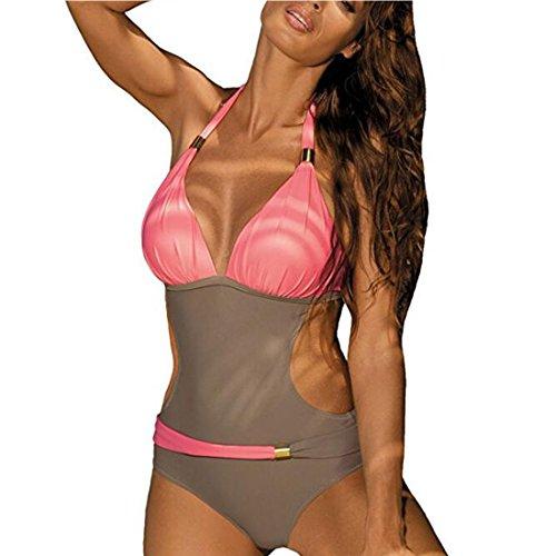 GWELL da donna Costume da bagno Monokini Neck Holder costume da bagno Pink Grau