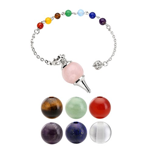 QGEM Pendule Radiesthesie Divinatoire Bracelet en Energie Pierre Naturelle avec Pendentif Sphère 7pcs Chakras Ensemble