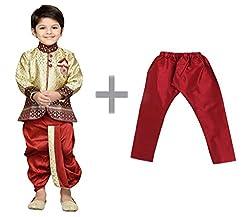 AJ Dezines Baby Boys Indo Western Kurta Dhoti Set for Kids(9001_MAROON_3)