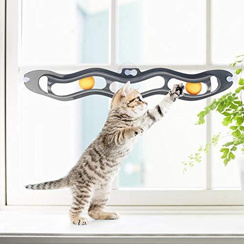 KOBWA Katze Sauger Fenster Trackball, Interaktive Katze Spielzeug Pet Zubehör Trackball Spielzeug-Set -