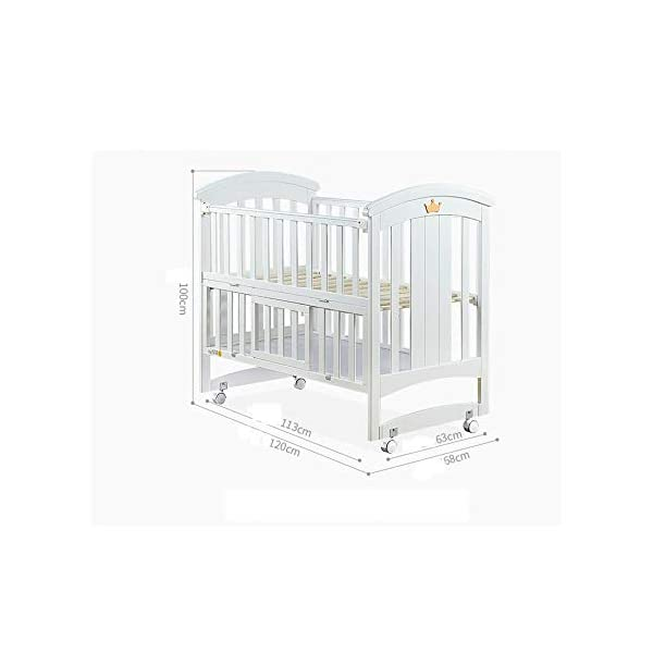 QINYUN Crib Baby Cradle Bed With Roller Solid Wood Multi-function Game Bed QINYUN 1. European classic bed type smooth curved corners: noble and elegant curved bed head polished many times without edges and corners to avoid baby scratches and scratches. 2. Crown decoration: cute crown three-dimensional decoration, I heard that both the prince and the princess like it. 3. Pacifier material anti-mite: the same material as the nipple, hardened, moderate hardness, care for the baby's young gums. 4