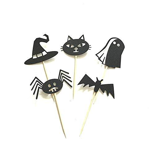(Rishx Halloween Kuchen Flagge Plakat mit Kürbis Ghost Spider Bat, 5 Stück DIY Halloween Thema Geburtstag Party Dekoration liefert)