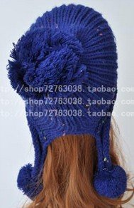 Winter Hat Knit Russian Cute Trapper Warm Cool Girl Women Blue Puff Dangle